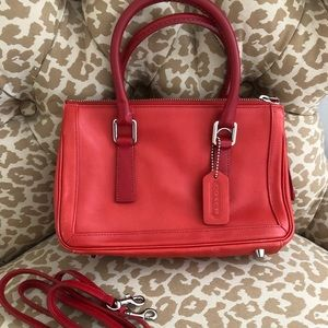 Red leather Coach mini handbag